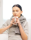 Ill woman with flu at home healthcare and medicine concept Stock Photos
