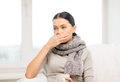 Ill woman with flu at home healthcare and medicine concept Stock Photo