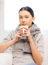 Ill woman with flu at home healthcare and medicine concept Royalty Free Stock Images