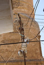 Illegal electrical connections tangled wires of mardin turkey Stock Photography