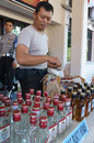 Illegal liquor police seized in a raid to suppress crime in the city of solo central java indonesia Stock Photography