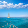 Illetes illetas formentera yacht sailboat anchored in turquise mediterranean Stock Photography