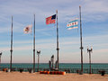 Illinois, USA and Chicago Flags Royalty Free Stock Photo