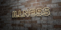 ILLNESS - Glowing Neon Sign on stonework wall - 3D rendered royalty free stock illustration