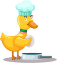 Illsutration of isolated cartoon duck cooking egg Royalty Free Stock Photo