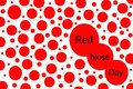 Red nose day illustration with many noses of different sizes on a white background.