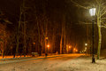Illuminated alley in winter park with snowy trees and lantern Royalty Free Stock Photo