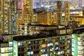 Illuminated architecture in Hong Kong Royalty Free Stock Photo