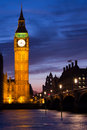 Illuminated big ben and westminster bridge in london at night Royalty Free Stock Images
