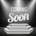 Illuminated blank podium coming soon new product promotion on with stage light realistic background vector illustration Royalty Free Stock Photography