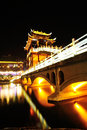 Illuminated bridge at fenghuang ancient town night view of china Royalty Free Stock Photos
