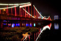 Illuminated bridge at night Royalty Free Stock Photo