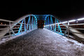 Illuminated bridge people on new Royalty Free Stock Images