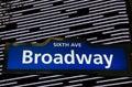 Illuminated Broadway street sign in New York City Royalty Free Stock Photo