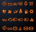Illuminated car dashboard icons Royalty Free Stock Photography