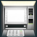 Illuminated cash machine with blank white screen Royalty Free Stock Photo
