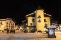 Illuminated central square megeve french alps france Royalty Free Stock Photo