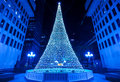 Illuminated christmas tree in montreal night scene in blue tone Royalty Free Stock Images