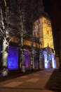 Illuminated church in tallinn old town estonia colorfully ancient st nicholas the of at night Stock Image