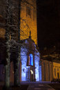 Illuminated church in tallinn old town estonia colorfully ancient st nicholas the of at night Royalty Free Stock Photography