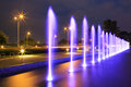 The illuminated fountain at night Royalty Free Stock Photography