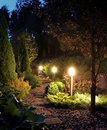 Illuminated garden path patio Royalty Free Stock Photo