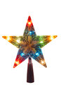 Illuminated Golden Christmas star, topper Royalty Free Stock Photo