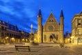 Illuminated gothic facade of Ridderzaal, Hague Royalty Free Stock Photo