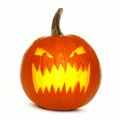 Illuminated Halloween Jack o Lantern isolated on white Royalty Free Stock Photo