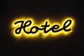 Illuminated hotel sign on the building Royalty Free Stock Photo