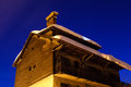 Illuminated House in the Village of Megeve Royalty Free Stock Photos