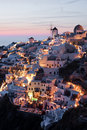 Illuminated Oia village Stock Image