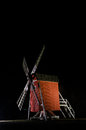 Illuminated old traditional windmill in Sweden Royalty Free Stock Photo