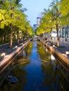 Illuminated pools of water at night Royalty Free Stock Image