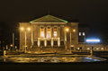 Illuminated portico of the building of opera theater Royalty Free Stock Photo