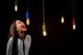 Illuminated retro lamps with woman yelling Royalty Free Stock Photo