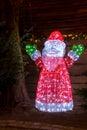 Illuminated Santa Claus figure- outdoor decoration Royalty Free Stock Photo