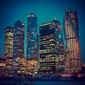 Illuminated Skyscrapers Buildings in Moscow Royalty Free Stock Photo