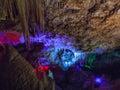 Illuminated Stalactites and stalagmites in Ngilgi cave in Yallingup Royalty Free Stock Photo