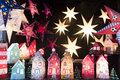 Illuminated stars and houses as christmas decoration Royalty Free Stock Photography