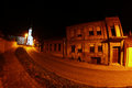 Illuminated street and church night in vukovar traces of war Royalty Free Stock Images