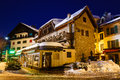 Illuminated street megeve christmas night french alps france Royalty Free Stock Photo