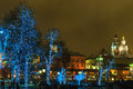 Illuminated trees moscow in the street Royalty Free Stock Photography