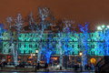 Illuminated trees on the street in moscow Stock Photography