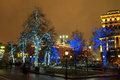 Illuminated trees on the street in moscow Royalty Free Stock Image