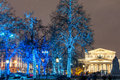 Illuminated trees on the street in moscow Stock Image