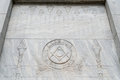 Illuminati free mason symbols in egyptian style found a grave yard with engravings Stock Image