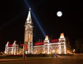 The illumination of the canadian house of parliament at night beautiful Stock Images