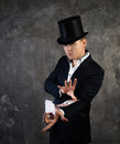 Illusionist man with cards fan Royalty Free Stock Photo