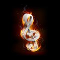 Illustartion de note ardente de musique avec la flamme Image stock